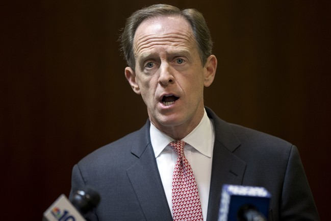 FILE -In this May 9, 2016 file photo, Sen. Pat Toomey, R-Pa. speaks during a news conference in Philadelphia.