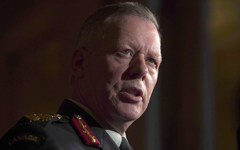 Chief of Defence Staff Jonathan Vance speaks with the media following a speech to the Chamber of Commerce in Ottawa, Tuesday May 24, 2016.