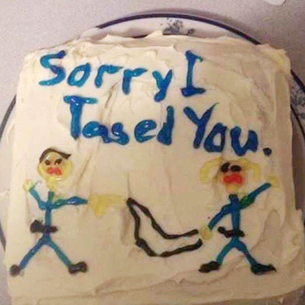 This photo released by Alistair McKenzie shows a photo of a cake received by his client Stephanie Byron via text message.