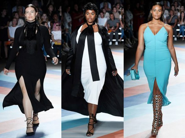Plus-sized models walk the Christian Siriano runway during Fashion Week in New York, Saturday, Sept. 10, 2016.