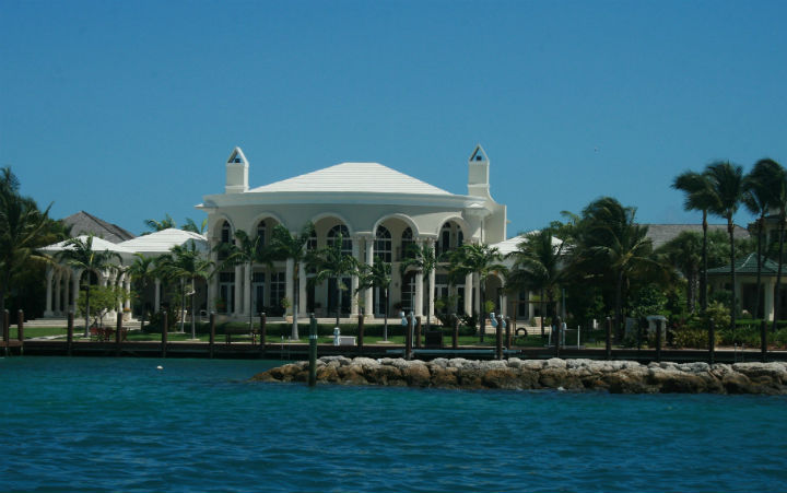 Luxury waterfront property in Nassau, Bahamas, July 23, 2013. Nassau is the capital, largest city, and commercial centre of the Commonwealth of the Bahamas. (Stock photo).