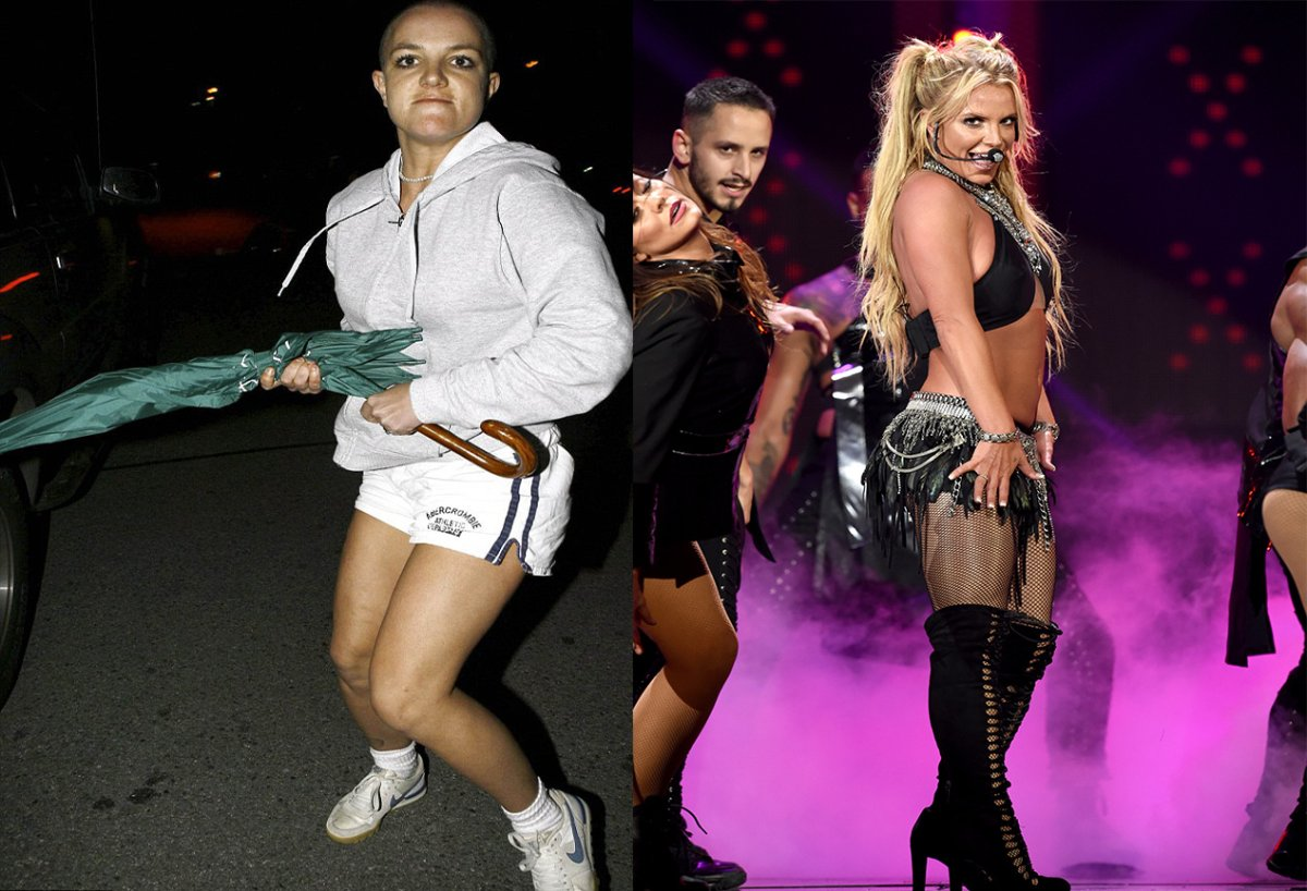 (L-R): Britney Spears attacked photographer's car with an umbrella in 2007. Britney Spears performs onstage at 2016 iHeartRadio Music Festival.