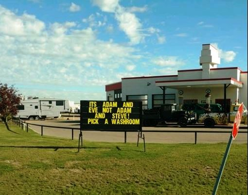 A sign in front of Queen's Diner in Red Deer, Alta.