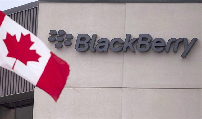 A Canadian flag flies at BlackBerry's headquarters in Waterloo, Ontario.