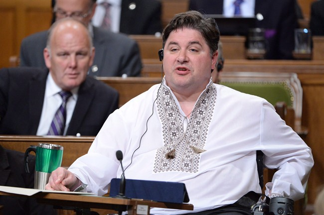 Veterans Affairs Minister Kent Hehr answers a question during Question Period in the House of Commons on Parliament Hill in Ottawa on Thursday, May 19, 2016.