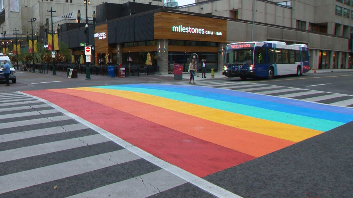 This file photo from 2016 shows a rainbow crosswalk painted in the intersection of 8 Avenue and Centre Street, near the Calgary Tower.
