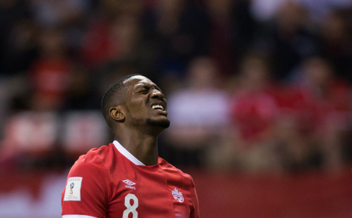 Canada's Doneil Henry reacts after putting a shot wide of the El Salvador goal during second half FIFA World Cup qualifying soccer action in Vancouver, B.C., on Tuesday September 6, 2016.