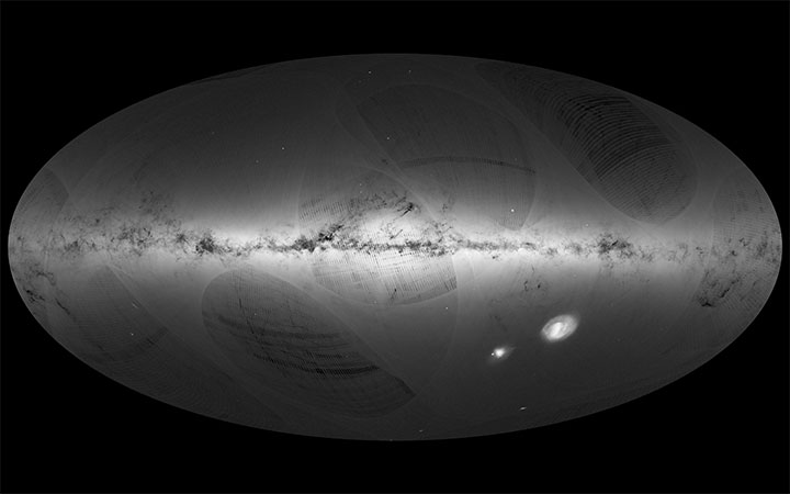 The stars of the Milky Way as well as other neighbouring galaxies are seen in this high-resolution image taken by ESA's Gaia satellite.