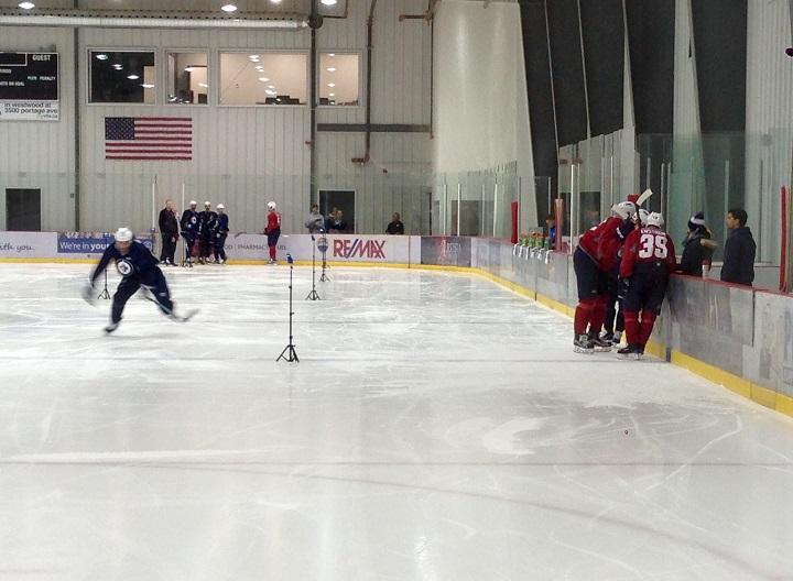 Players are put through a speed test on the opening day of Winnipeg Jets training camp.