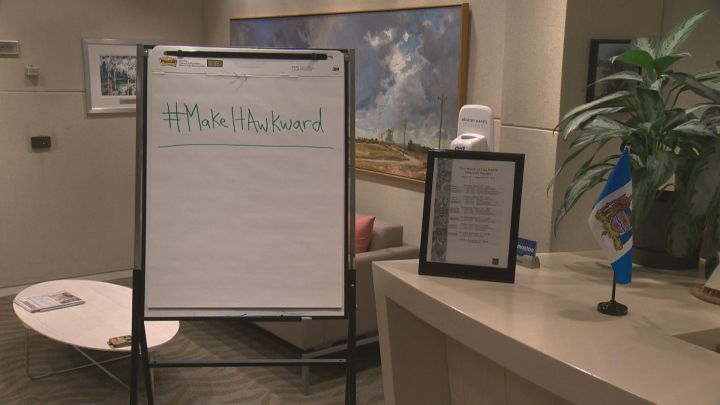 A recent racial slur captured on video in Edmonton has spurred the #MakeItAwkward social media campaign.