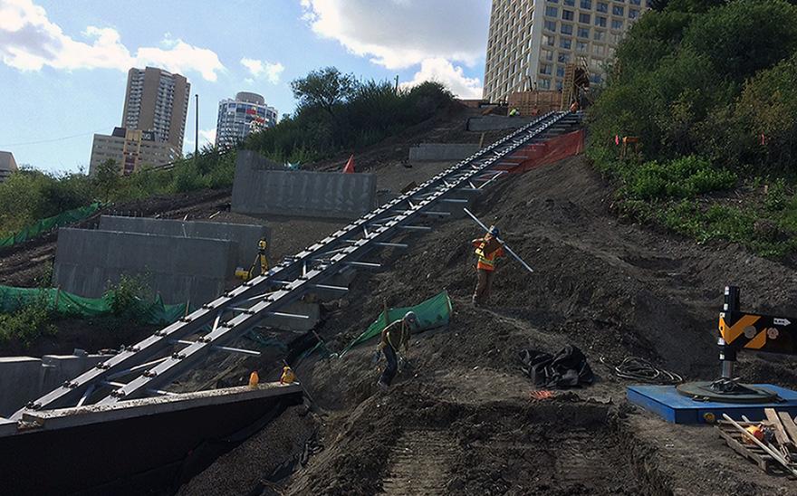 Funicular rail installation.