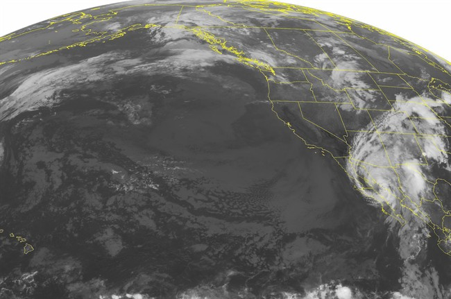 This NOAA satellite image taken Wednesday, Sept. 07, 2016 at 01:00 AM EDT shows Hurricane Newton moving northward up the Baja Mexico coast. Widespread showers with a few embedded thunderstorms can be seen across parts of Arizona and New Mexico due to the outer rain bands. Newton is expected to weaken to a Tropical Storm as it makes landfall over far northwest Mexico. An area of showers can be seen across the northern Intermountain West, while weakening showers can be seen across the Pacific Northwest. The West Coast remains dry and clear, while mostly cloudy skies can be seen across the Rockies. (NOAA/Weather Underground via AP).