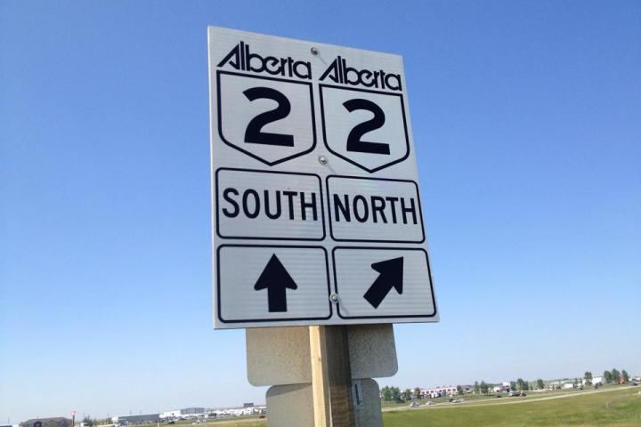 File image of a traffic sign for the QEII highway in central Alberta.