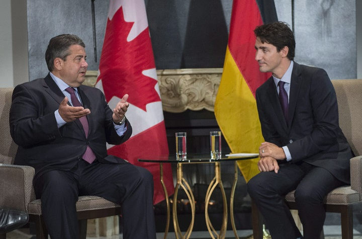 Prime Minister Justin Trudeau meets with Sigmar Gabriel, Minister of Economic Affairs and Energy and Vice Chancellor of the Federal Republic of Germany, at the Global Progress conference Thursday, September 15, 2016 in Montreal. Gabriel says the Eu-Canada trade deal, CETA, will get Germany's approval.