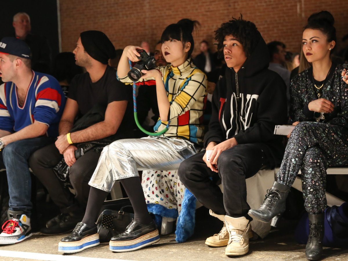 """Fashion bloggers like Susie Bubble (centre) have been accused of making fashion """"schizophrenic."""" ."""