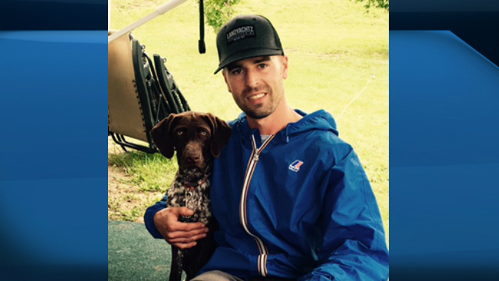 Tanner Kaufmann, 37, with dog Macy. Kaufmann died in a two-vehicle collision north of Regina on Sept. 4.