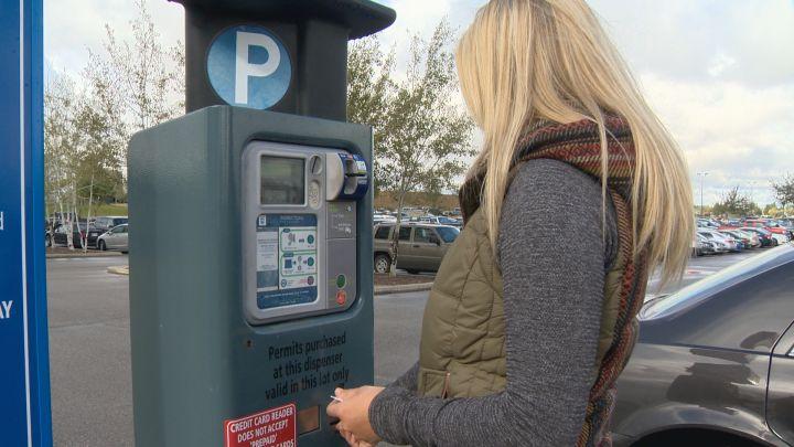 University of Lethbridge student pays for parking.