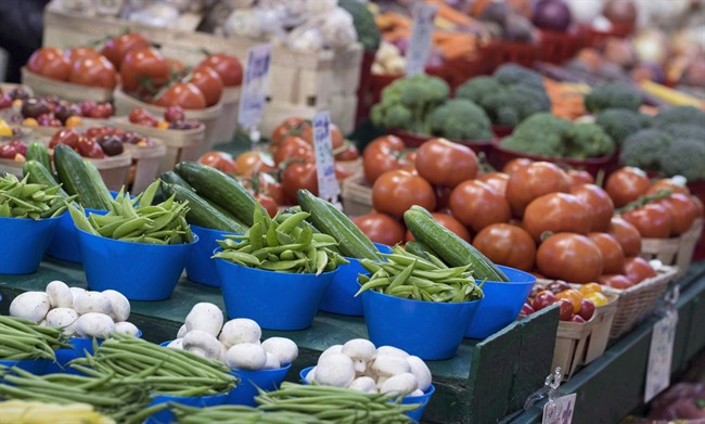 Various vegetables are on display at the Jean Talon Market in Montreal on January 11, 2016.