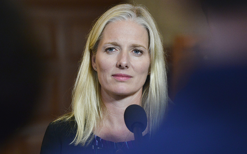 Minister of Environment and Climate Change Catherine McKenna talks with media in Ottawa on Wednesday, Sept. 28, 2016.