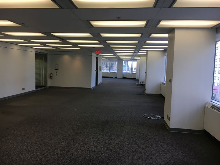 A downtown office floor sits empty. Calgary's current vacancy sits at around 22 per cent.