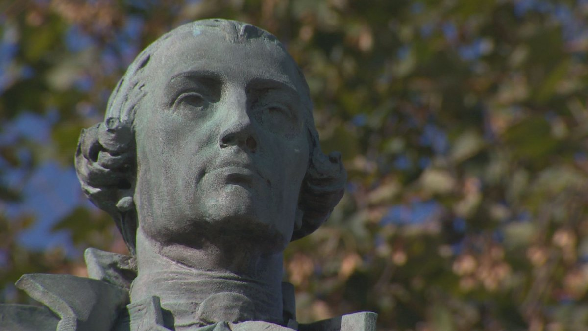 The statue of Edward Cornwallis in the park of the same name in Halifax.