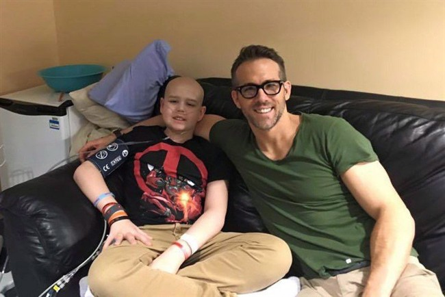 Actor Ryan Reynolds poses for a photo with 13-year-old Connor McGrath that the actor posted on Facebook. Reynolds penned an emotional online tribute to a Newfoundland-born cancer victim Sunday, honouring what would have been McGrath's 14th birthday.