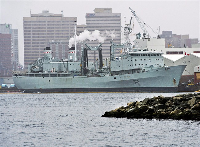 """HMCS Preserver, a Royal Canadian Navy supply ship, is docked in Halifax on Wednesday, Feb. 5, 2014. The Royal Canadian Navy's last operational support ship, HMCS Preserver, will be officially retired Friday during a special """"paying off"""" ceremony along the Halifax waterfront."""