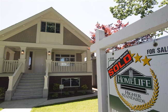 A sold sign is pictured outside a home in Vancouver, B.C., Tuesday, June, 28, 2016. The Real Estate Board of Greater Vancouver says home sales in Metro Vancouver in September fell by 32.6 per cent compared to the same month last year.