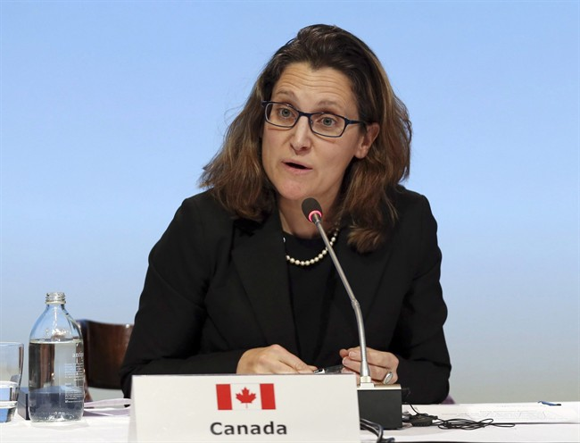 Canada's Minister of International Trade Chrystia Freeland speaks at a press conference at the signing of the Trans-Pacific Partnership Agreement.