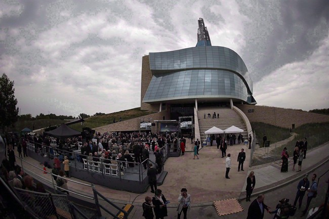 Guests gather at the grand opening of the Canadian Museum For Human Rights in Winnipeg on September 17, 2014.