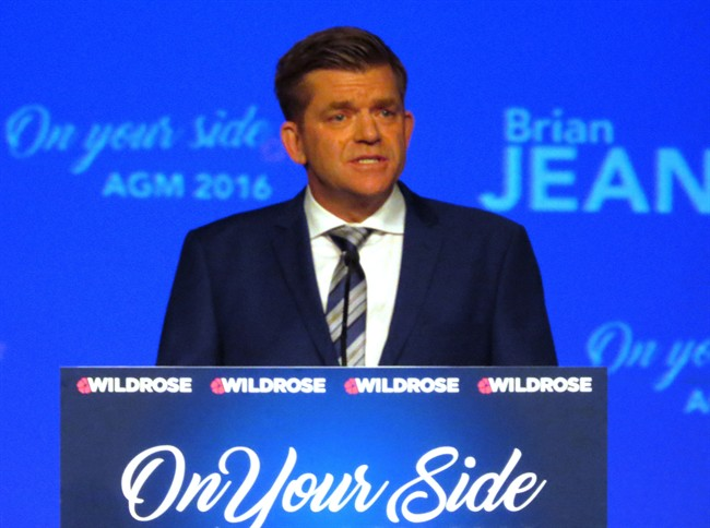 Wildrose party Leader Brian Jean speaks to more than 600 party members at the Wildrose annual general meeting in Red Deer, Alta. on Friday, October 28, 2016. Jean told the crowd that under an NDP government in Alberta, jobs are being lost, businesses are leaving, and crime and drug use are on the rise.