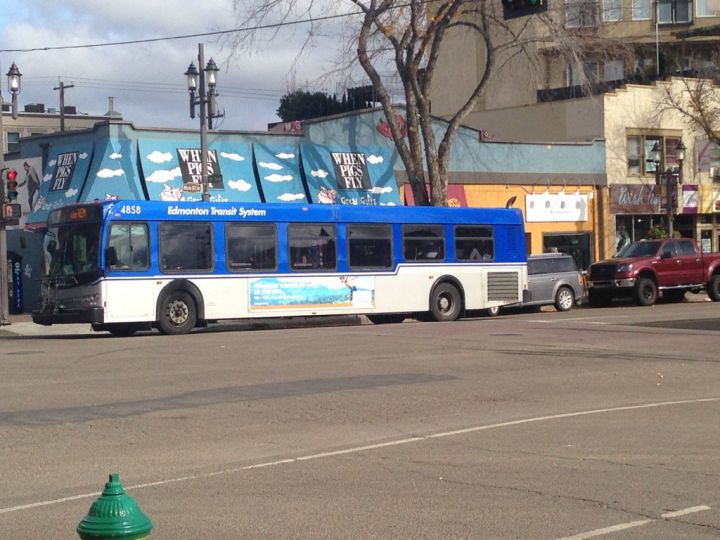 An ETS bus drive down Whyte Avenue in Edmonton Wednesday, Oct., 5, 2016.