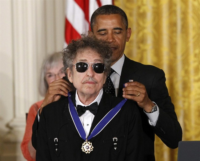 Barack Obama presents Bob Dylan with a Medal of Freedom in this May 29, 2012 file photo.