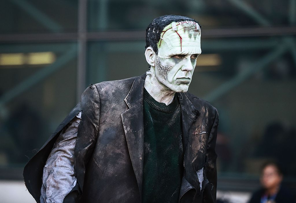 A comic Con attendee poses as Frankenstein during the 2016 New York Comic Con - Day 2 on October 7, 2016 in New York City.