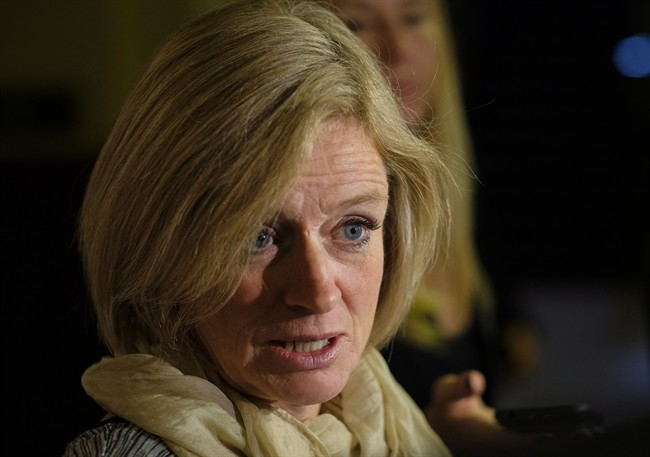 Alberta Premier Rachel Notley speaks to reporters at the McDougall Centre in Calgary, Alta., Tuesday, Oct. 4, 2016.
