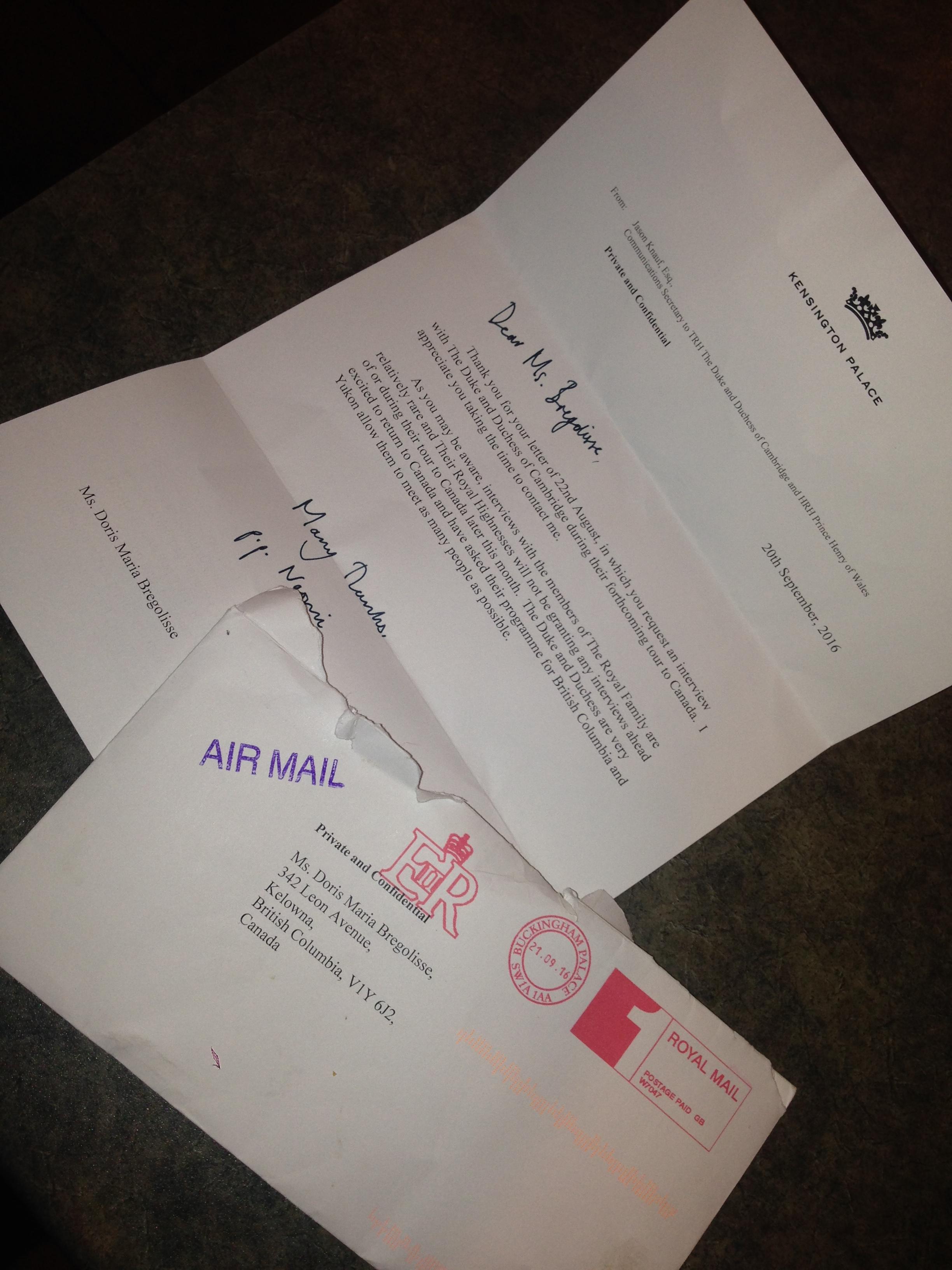 Kensington Palace letter Doris Bregolisse