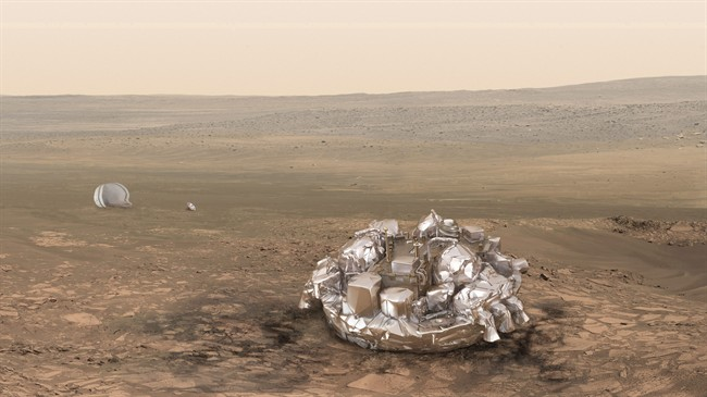 Artist impression of the Schiaparelli module on the surface of Mars provided by the European Space Agency, ESA. .