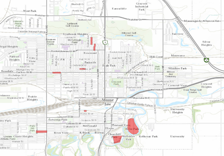 The City of Moose Jaw said Tuesday that seven areas are under a boil water advisory due to recent water main breaks. The areas in red are under the advisory.