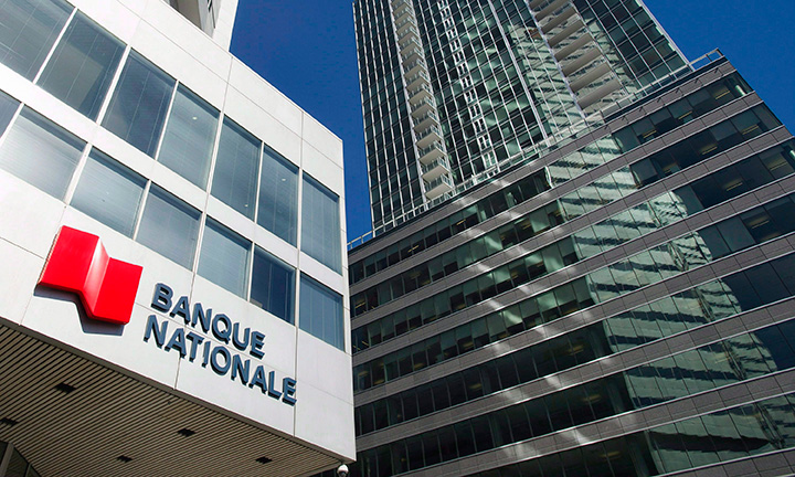 Banque Nationale (National Bank) head office is shown in Montreal, Wednesday, April 15, 2015.