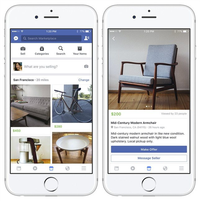 These images provided by Facebook show smartphone screen grabs demonstrating Facebook's new Marketplace tab for buying and selling on the social network.
