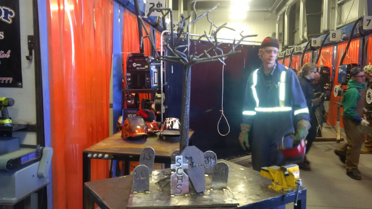 Welding students create Halloween-themed metal sculptures at a unique competition.