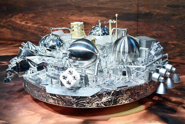 A model of Schiaparelli,  the Mars landing device, on display at the European Space Agency, ESA, in Darmstadt, Germany Wednesday Oct. 19, 2016.