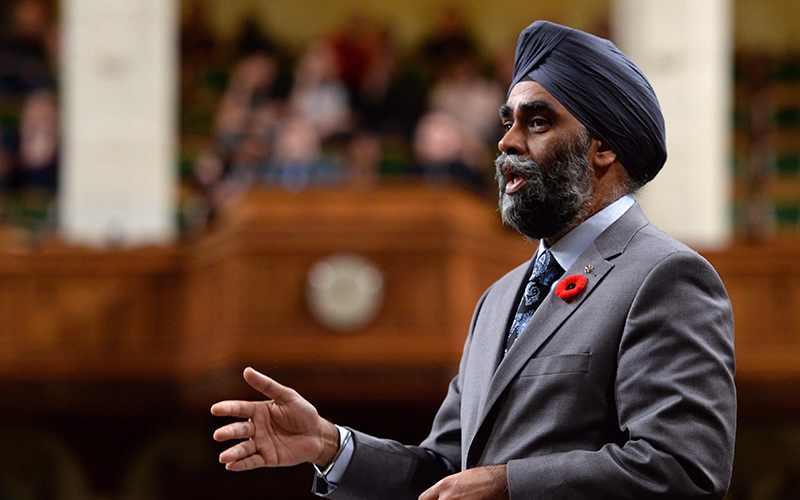 Defence Minister Harjit Sajjan speaks during question period in the House of Commons on Parliament Hill, in Ottawa on Friday, November 4, 2016.