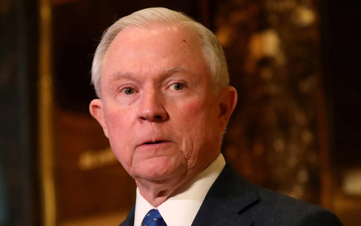 US Republican Senator from Alabama Jeff Sessions speaking with reporters at Trump Tower, where US President-elect Donald Trump lives and has an office, in New York, New York, USA, 17 November 2016.