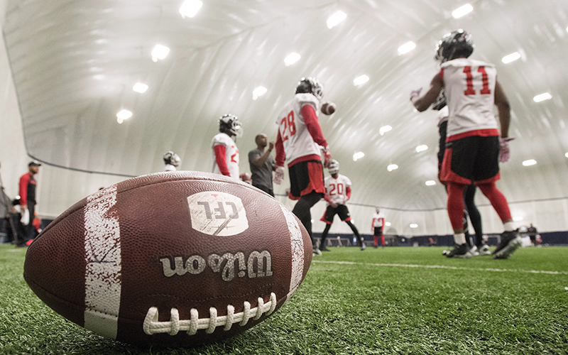 The Calgary Stampeders take to the field at practice for the 104th Grey Cup in Toronto on Friday, November 25, 2016.