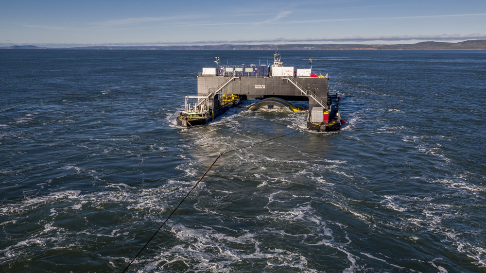 Crews working to install a massive tidal turbine in the Bay of Fundy on Monday, Nov. 7, 2016.