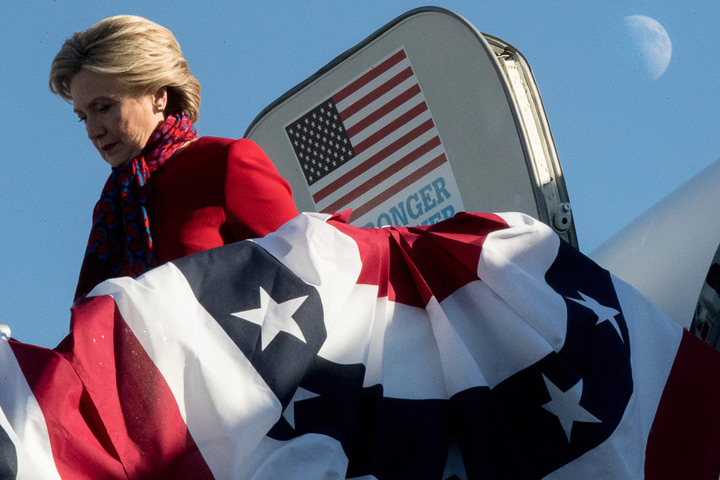 Hillary Clinton arrives at a rally