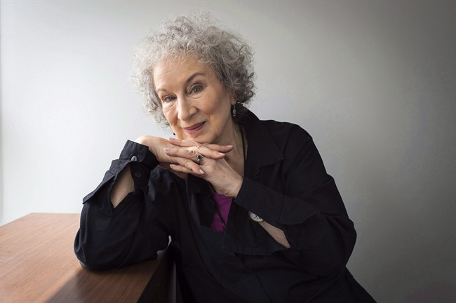 Author Margaret Atwood sits for a portait while promoting her new books 'Angel Catbird' and 'Hag-Seed' in Toronto on Thursday, July 28, 2016.