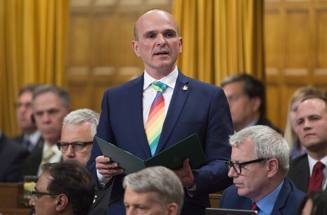 Liberal MP Randy Boissonnault is the government's special advisors on LGBTQ issues. He is pictured here in the House of Commons in June 2016.