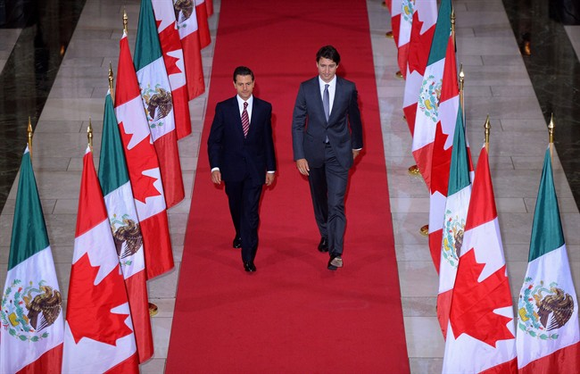 Prime Minister Justin Trudeau and Mexican President Enrique Pena Nieto walk down the Hall of Honour on Parliament Hill last June.